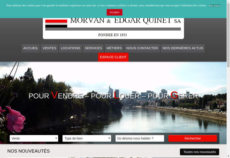 Capture d'écran du site de Morvan et Edgar Quinet SA