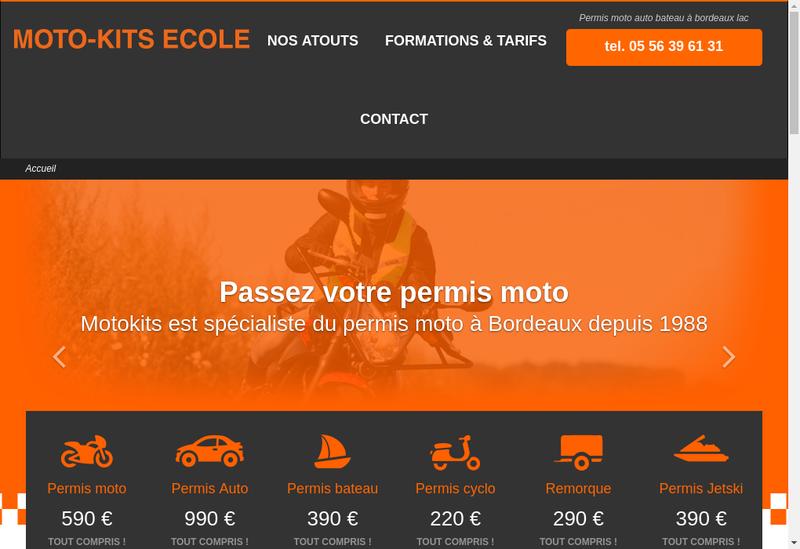 Capture d'écran du site de Moto Kits Ecole