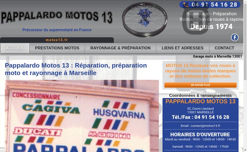 Capture d'écran du site de Motos 13