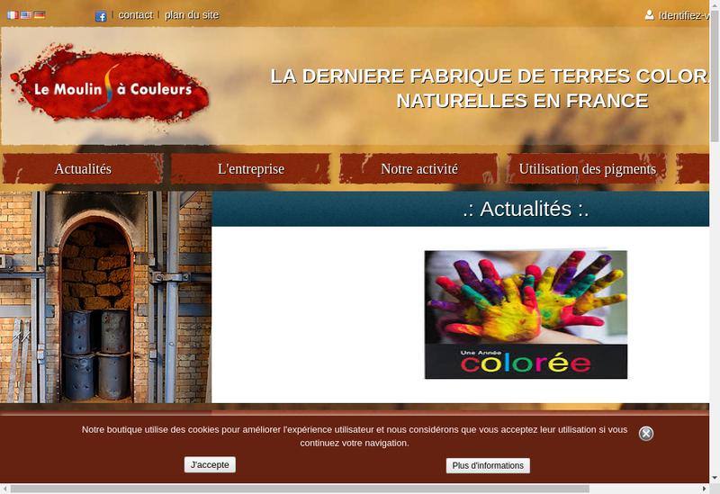 Capture d'écran du site de SARL le Moulin à Couleurs
