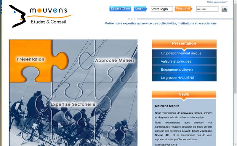 Capture d'écran du site de Mouvens