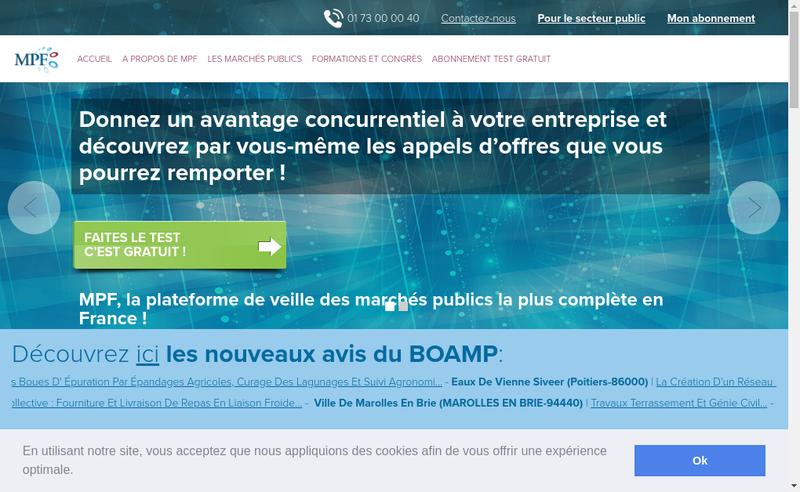 Capture d'écran du site de Marches Publics France