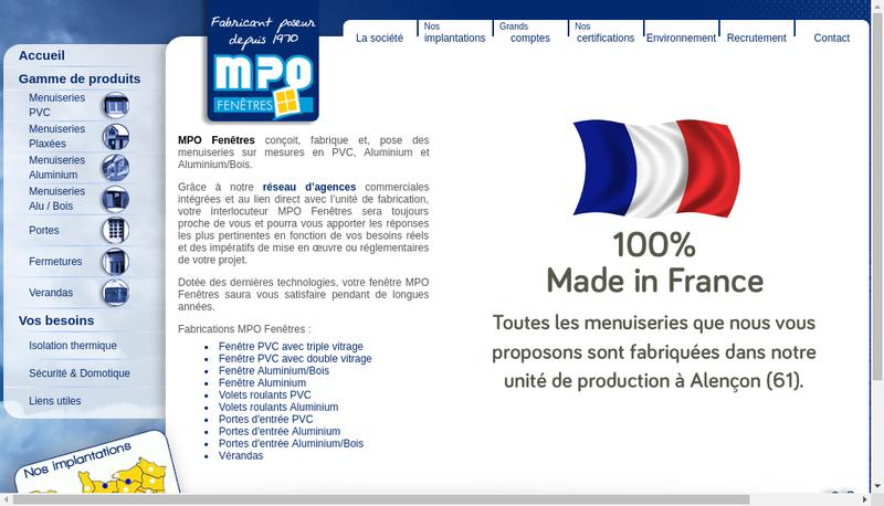 Capture d'écran du site de Mpo Fenetres