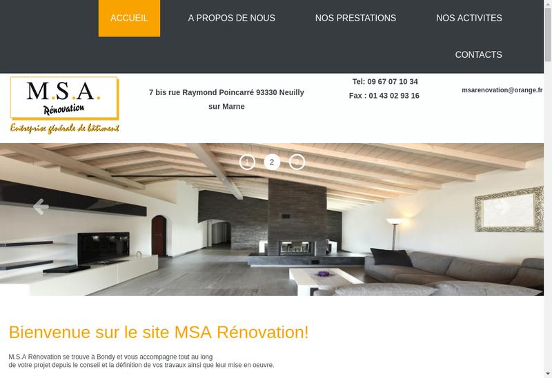 Capture d'écran du site de Msa Renovation
