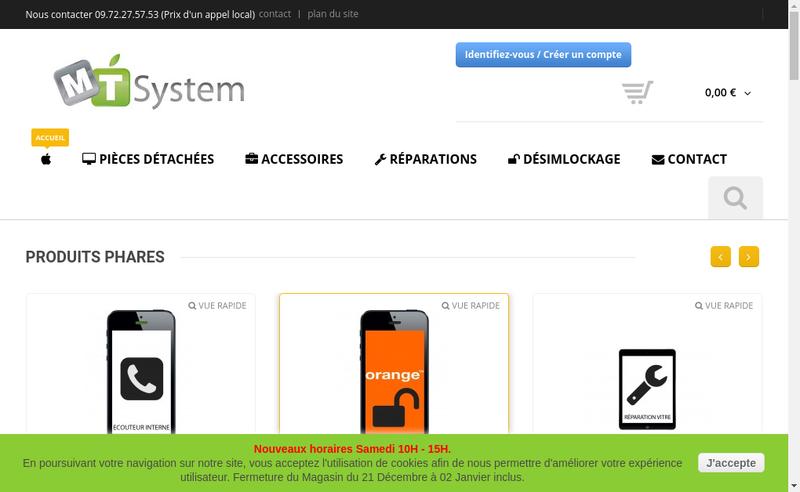 Capture d'écran du site de Mt System