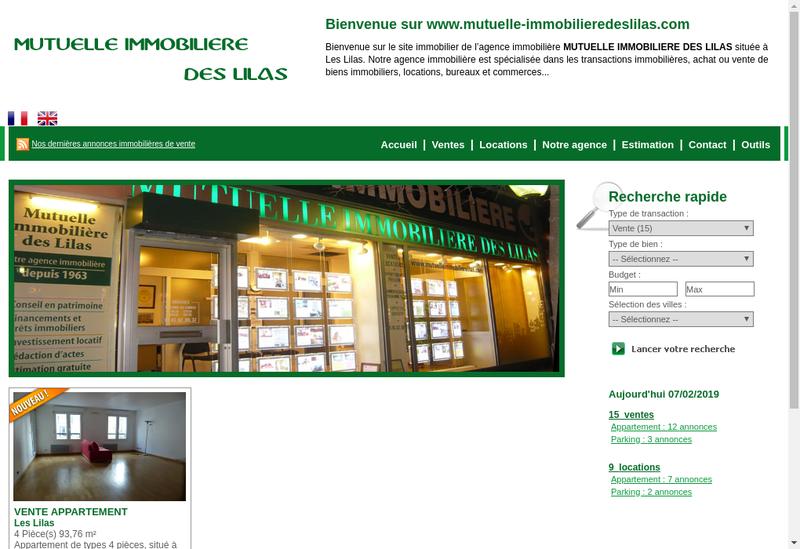 Capture d'écran du site de Mutuelle Immobiliere des Lilas