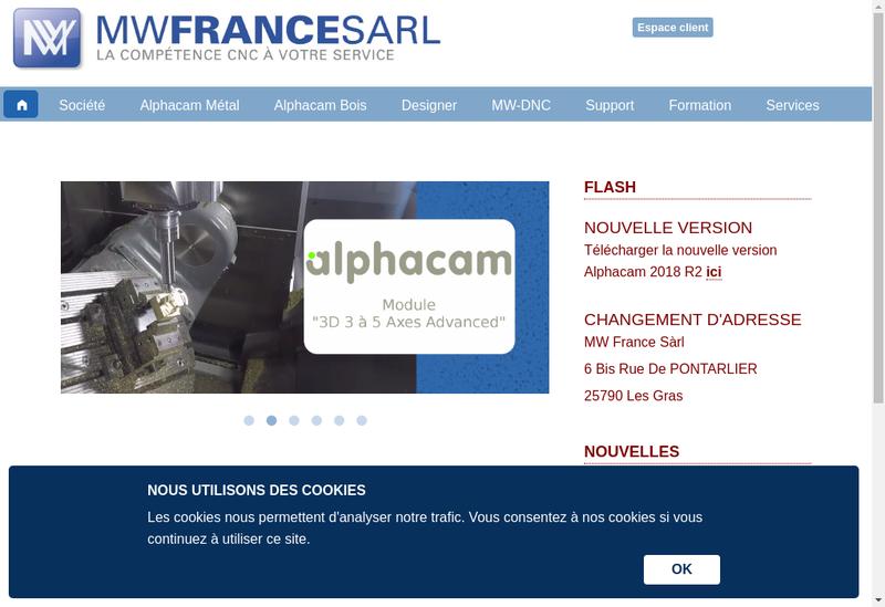 Capture d'écran du site de Mw France