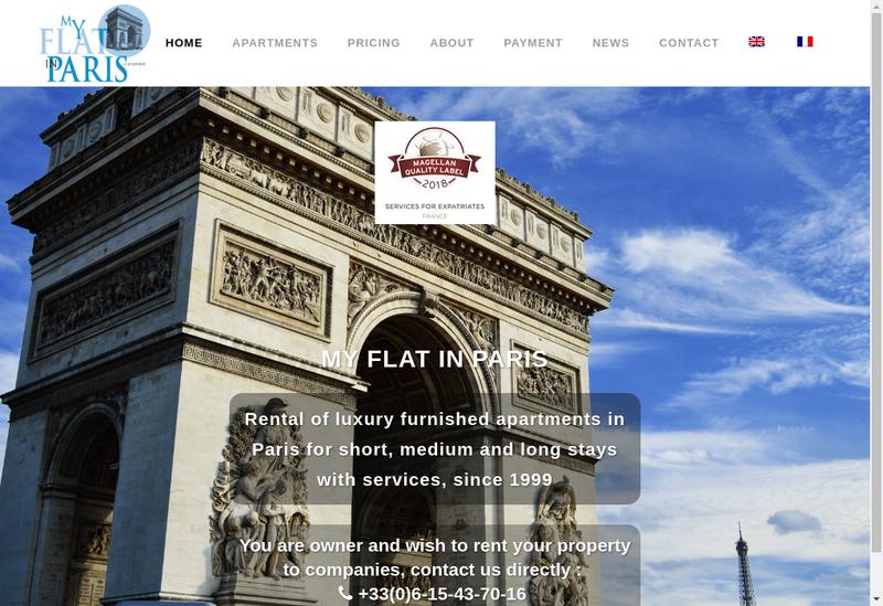 Capture d'écran du site de My Flat In Paris