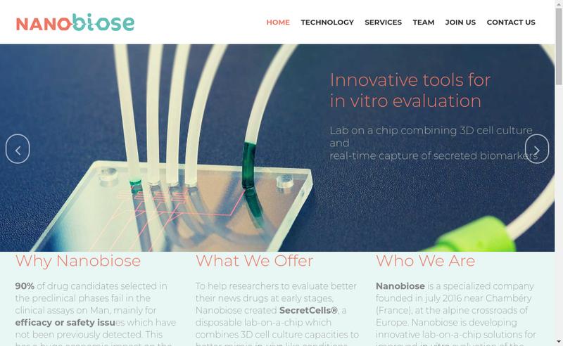 Capture d'écran du site de Nanobiose