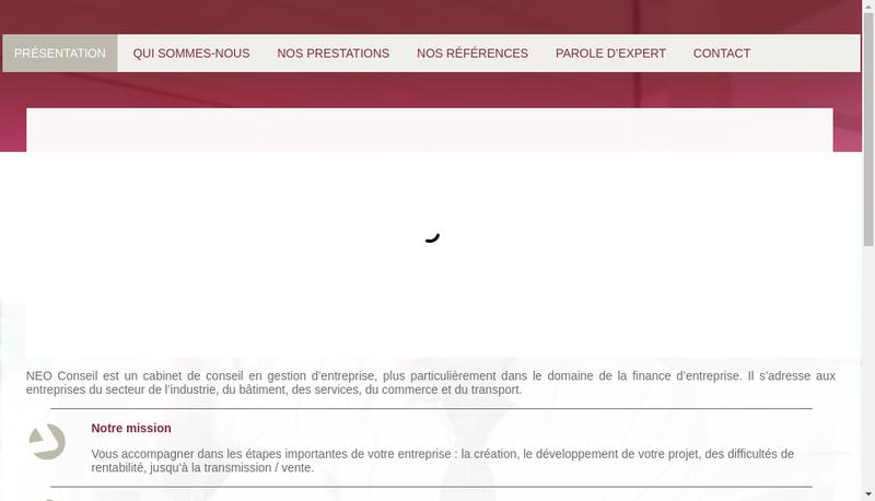Capture d'écran du site de Neo Conseil & Strategie