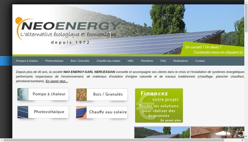 Capture d'écran du site de Neo Energy