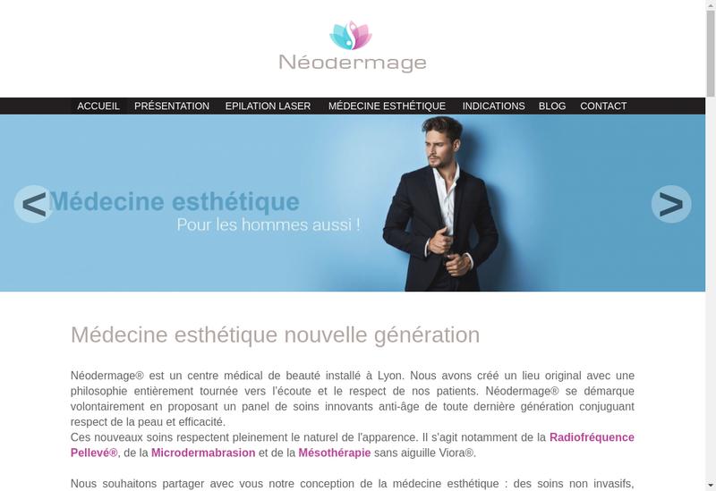 Capture d'écran du site de Neodermage
