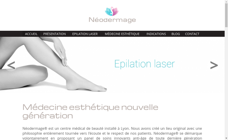 Capture d'écran du site de Neodermage