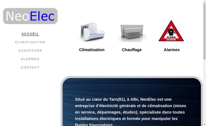 Capture d'écran du site de Neoelec