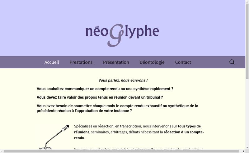 Capture d'écran du site de Neoglyphe