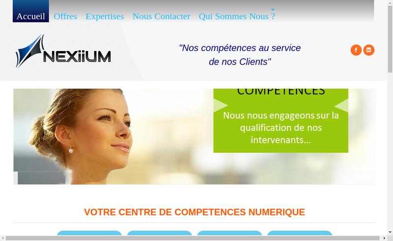 Capture d'écran du site de Nexiium