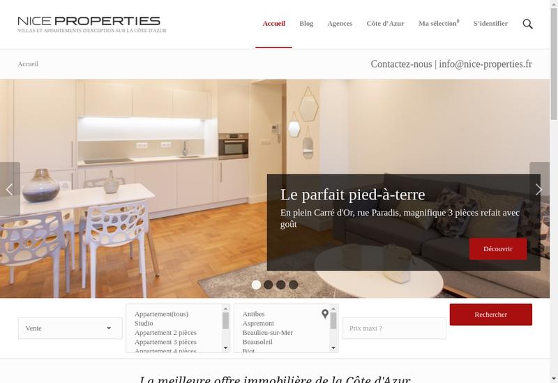 Capture d'écran du site de Nice Properties Opera