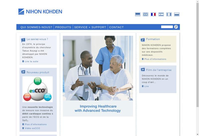 Capture d'écran du site de Nihon Kohden France SARL