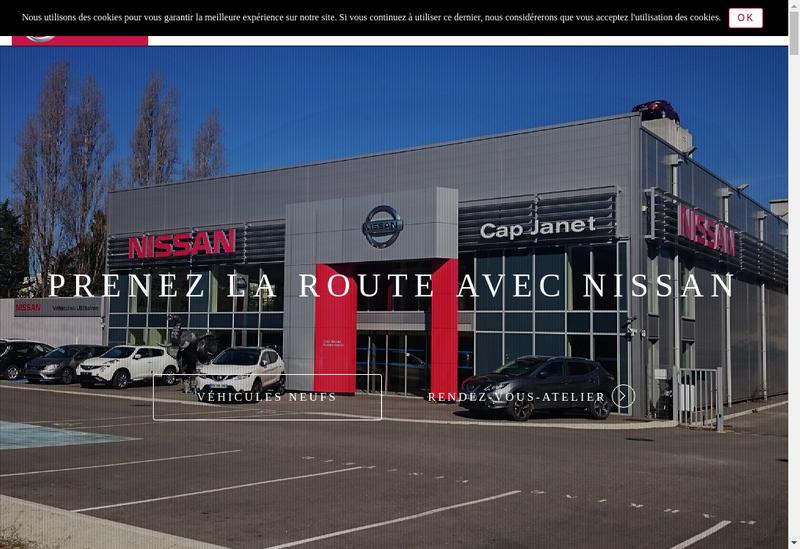 Capture d'écran du site de Cap Janet Automobiles