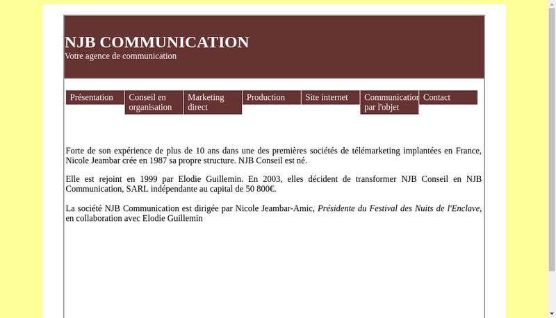 Capture d'écran du site de Njb Communication