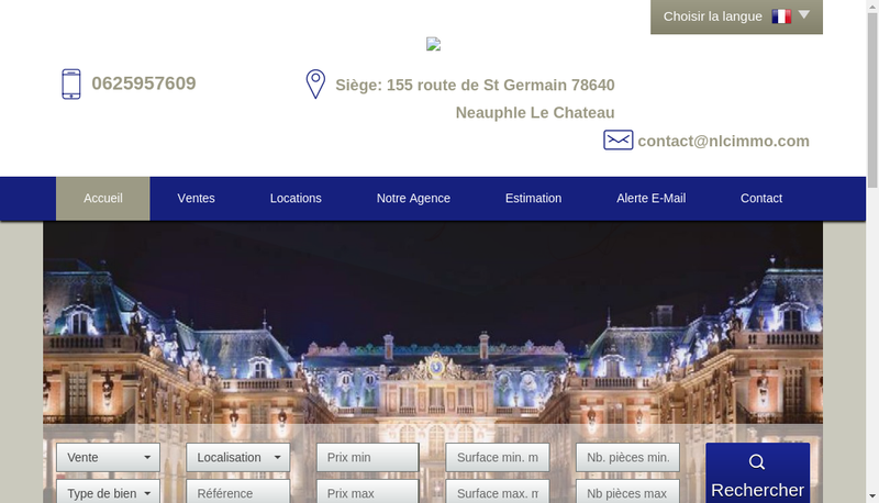 Capture d'écran du site de Neauphle le Chateau Immobilier