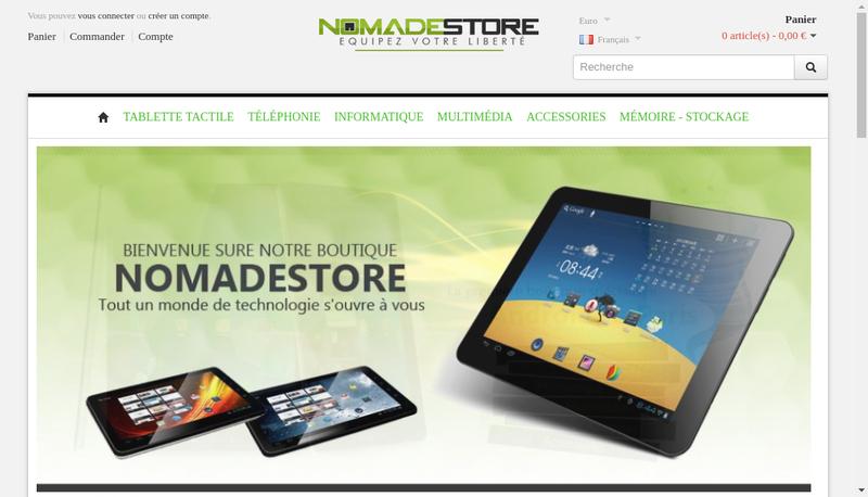 Capture d'écran du site de Nomadestore