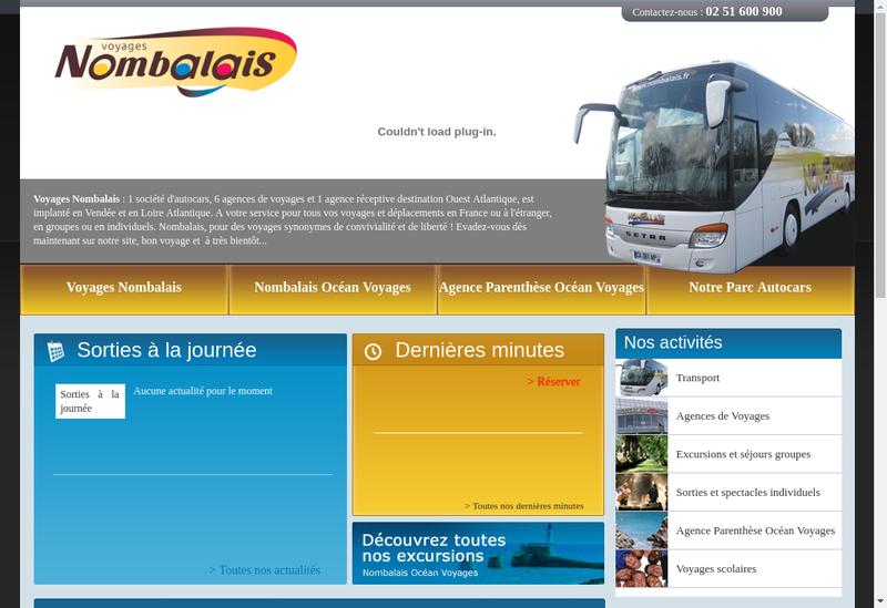 Capture d'écran du site de Voyages Nombalais
