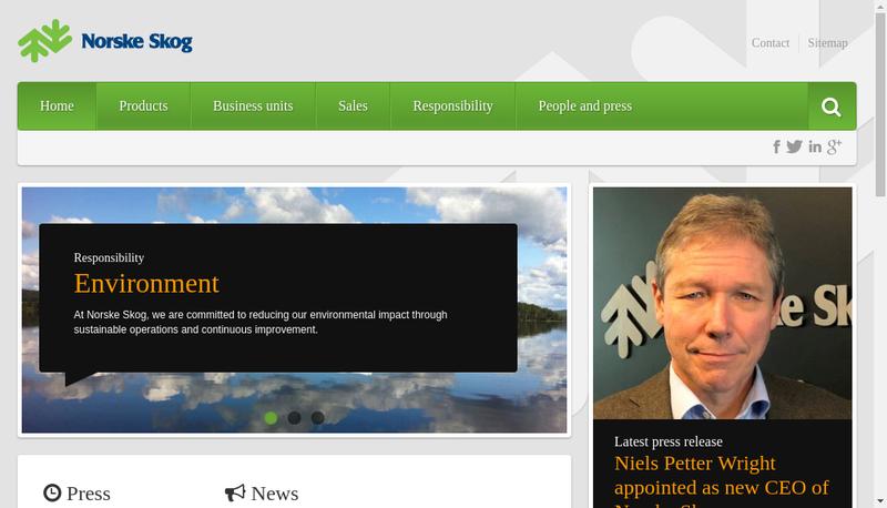 Capture d'écran du site de Norske Skog Golbey