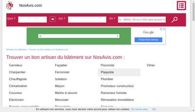 Capture d'écran du site de Nosavis Com
