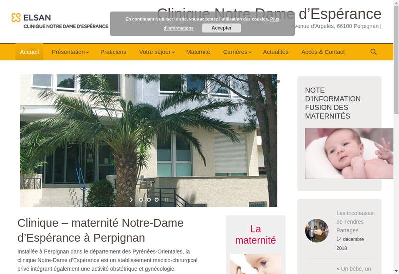 Capture d'écran du site de Clinique Notre Dame d'Esperance