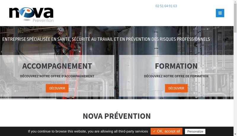 Capture d'écran du site de Nova Prevention