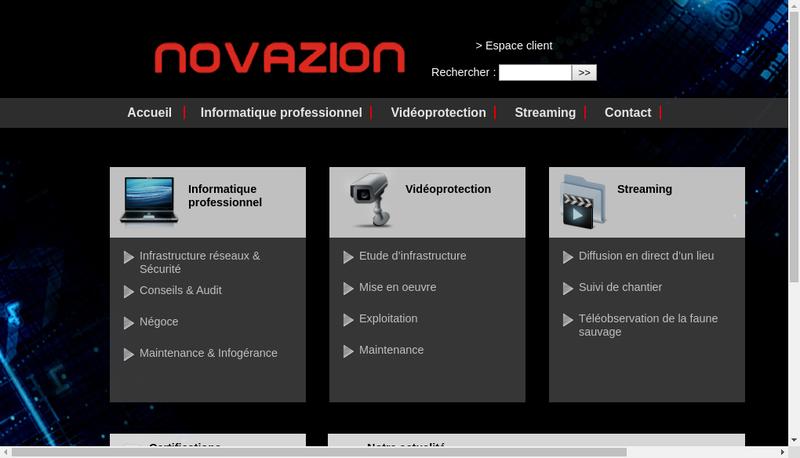 Capture d'écran du site de Novazion