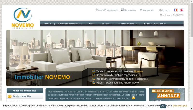 Capture d'écran du site de Novemo