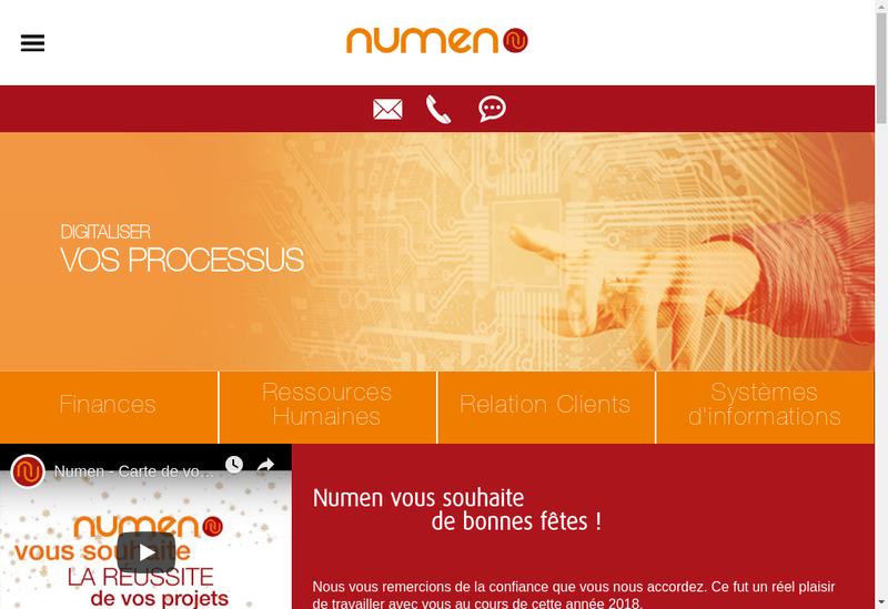 Capture d'écran du site de Numen