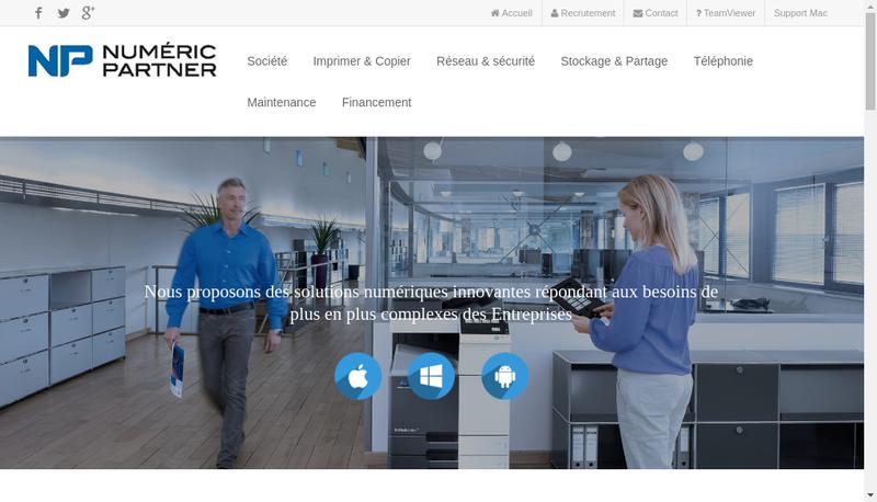 Capture d'écran du site de SAS Numeric Partner