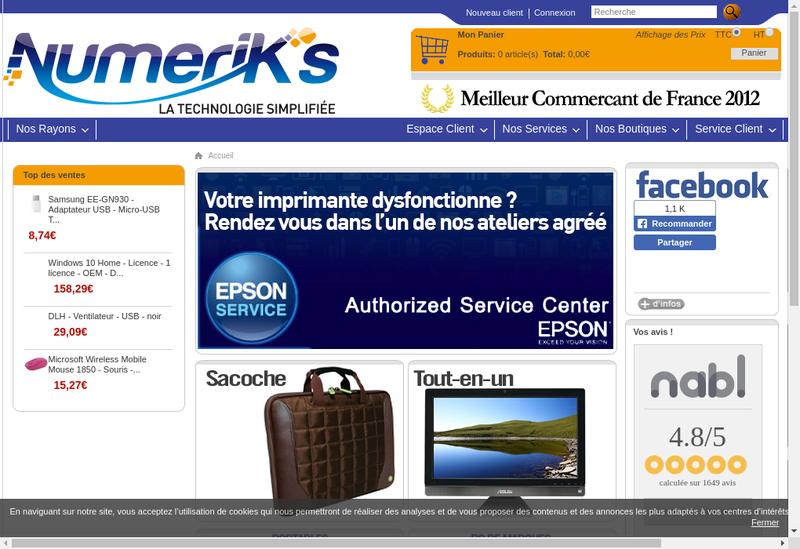 Capture d'écran du site de Numerik S