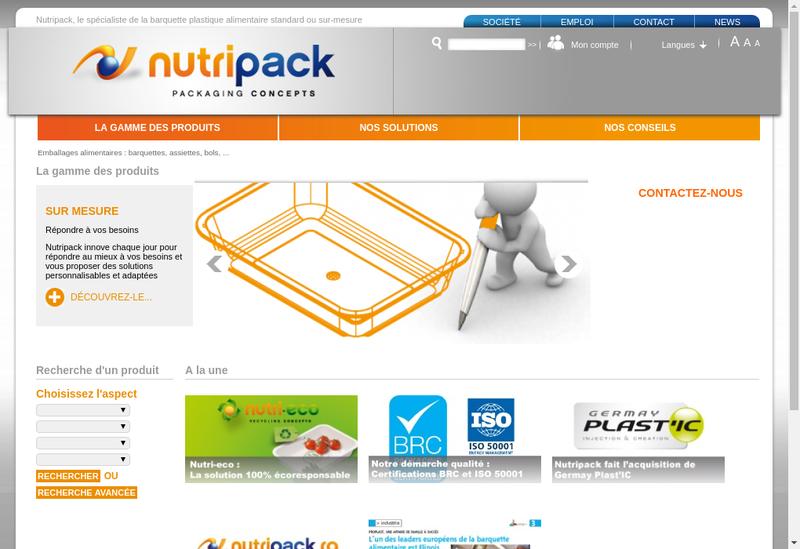 Site internet de Nutri Pack