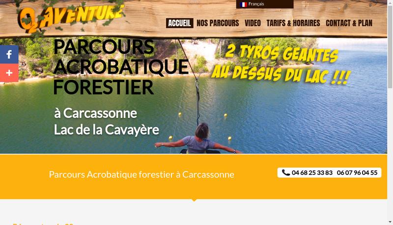 Capture d'écran du site de SARL O2 Aventure
