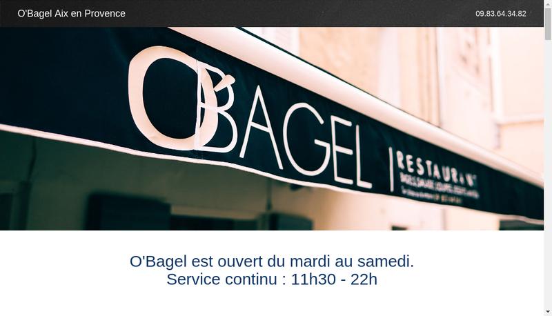 Capture d'écran du site de O'Bagel