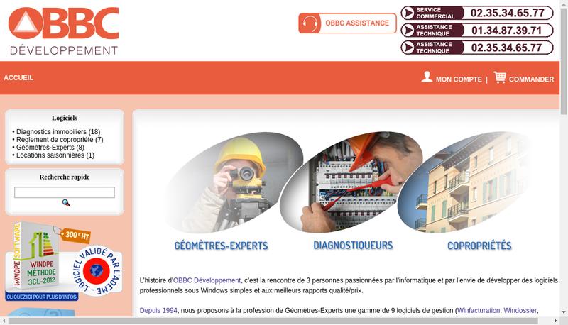 Capture d'écran du site de Obbc Developpement