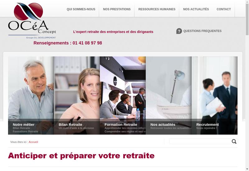 Capture d'écran du site de Ocea Concept