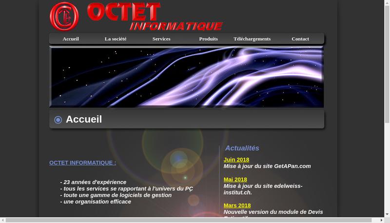 Capture d'écran du site de Octet Informatique