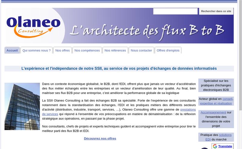 Capture d'écran du site de Olaneo.fr