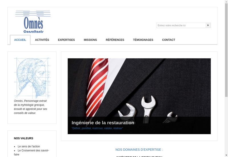 Capture d'écran du site de Omnes Consultants