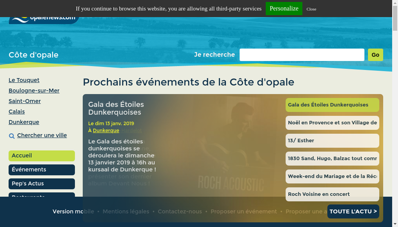 Capture d'écran du site de Packopale