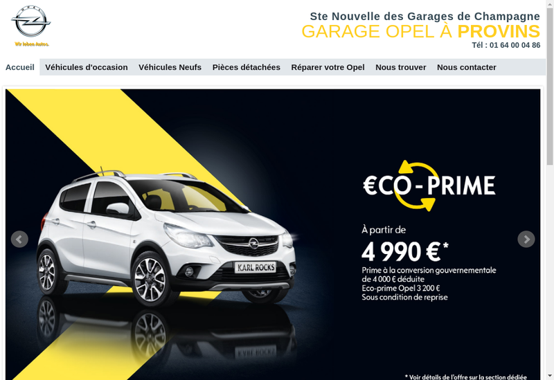 Capture d'écran du site de Opel Provins