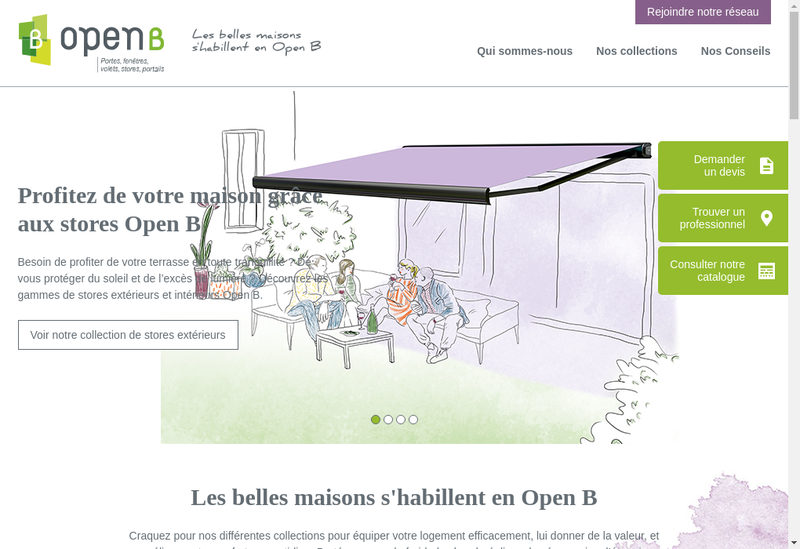 Capture d'écran du site de Open B