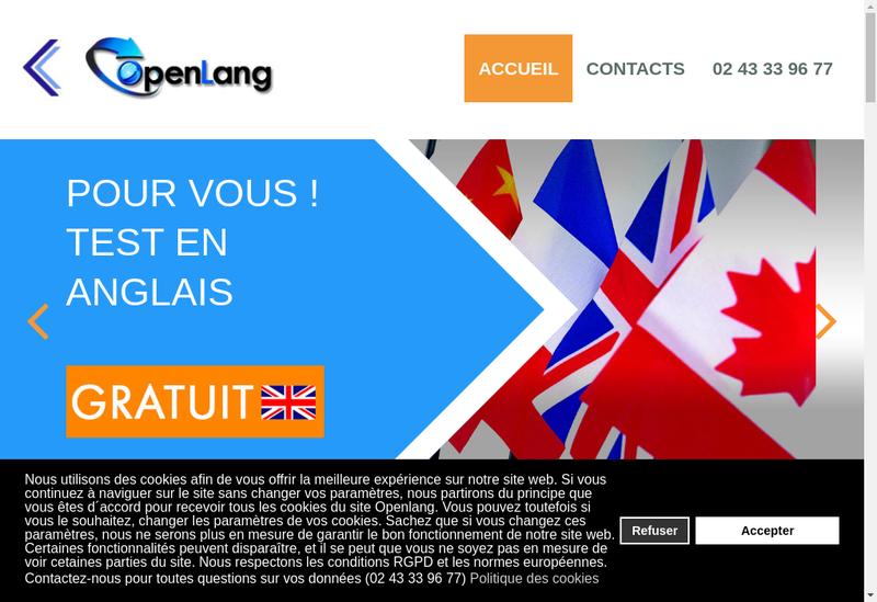 Capture d'écran du site de Openlang Formations