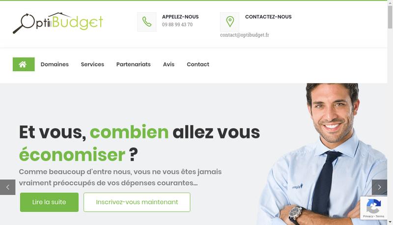 Capture d'écran du site de Optibudget Conseils