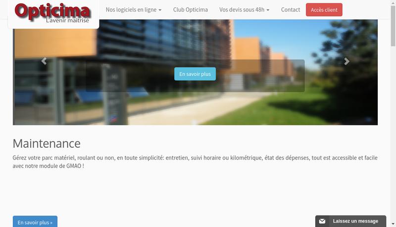 Capture d'écran du site de Opticima